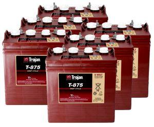 Kit 6pcs Trojan T-875 Deep Cycle Flooded Battery 8V 170Ah 24V 4kWh #20050820-6